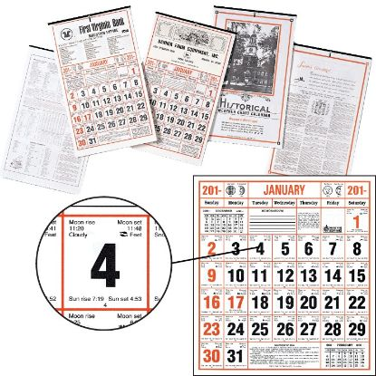 """Picture of Almanac Calendar - Historical Weather Chart - 11-1/2\"""" x 19\"""""""