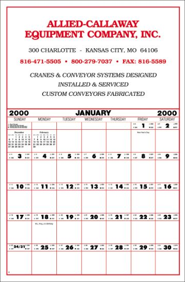 """Picture of Contractor\'s Calendar - Large 19\""""x29\"""""""