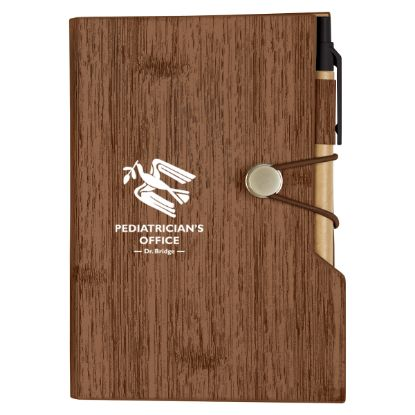 """Picture of Woodgrain Look Notebook With Sticky Notes And Flags - 4\"""" W x 6\"""" H"""
